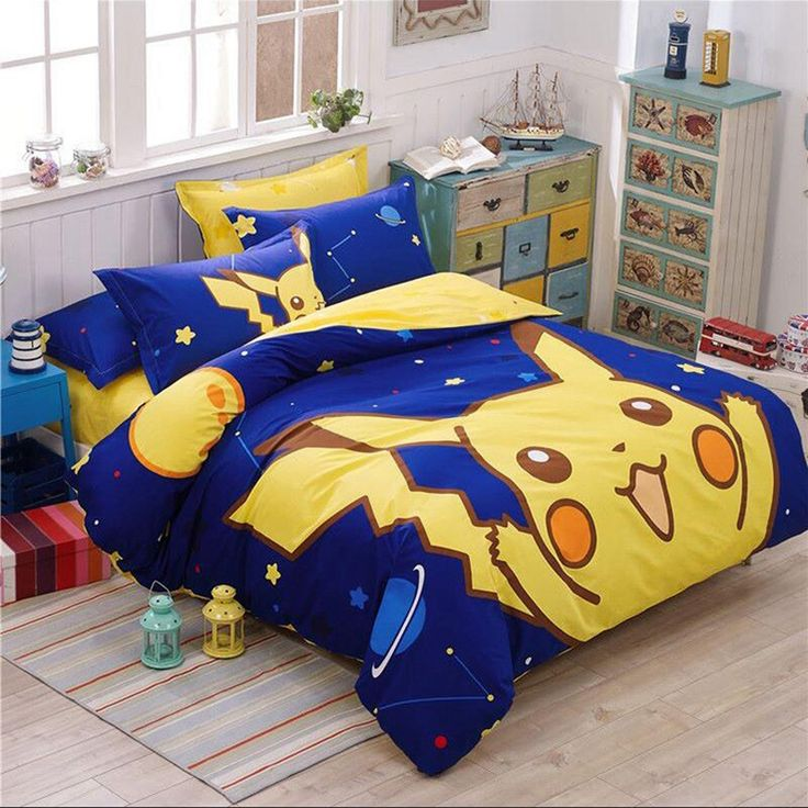 100 cotton pokemon bedding set pikachu printed duvet cover cartoon for kids bed set comfortable