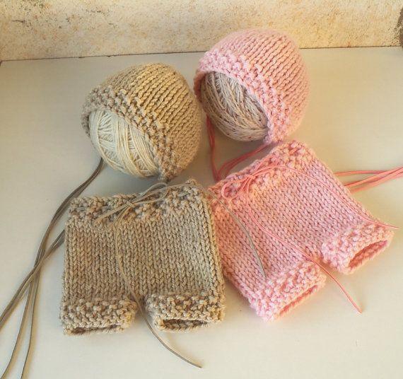 Newborn Set Bonnet Hat and Short Pant - Newborn Baby Knit Set - Knit Newborn Pant,Hat Set - Many color choices