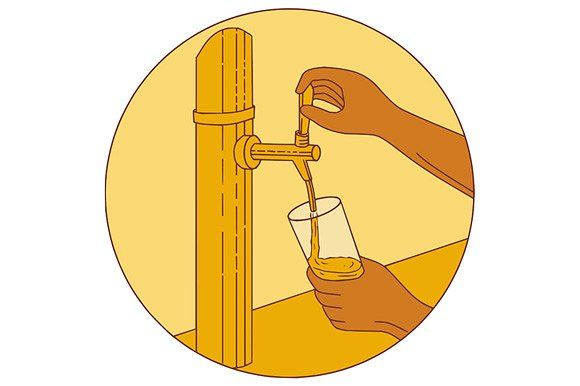 Hand Holding Glass Pouring Beer by patrimonio on @creativemarket. Drawing sketch style illustration of a hand holding glass pouring beer from tap set inside circle viewed from front. #illustration  #HandHoldingGlassPouringBeer
