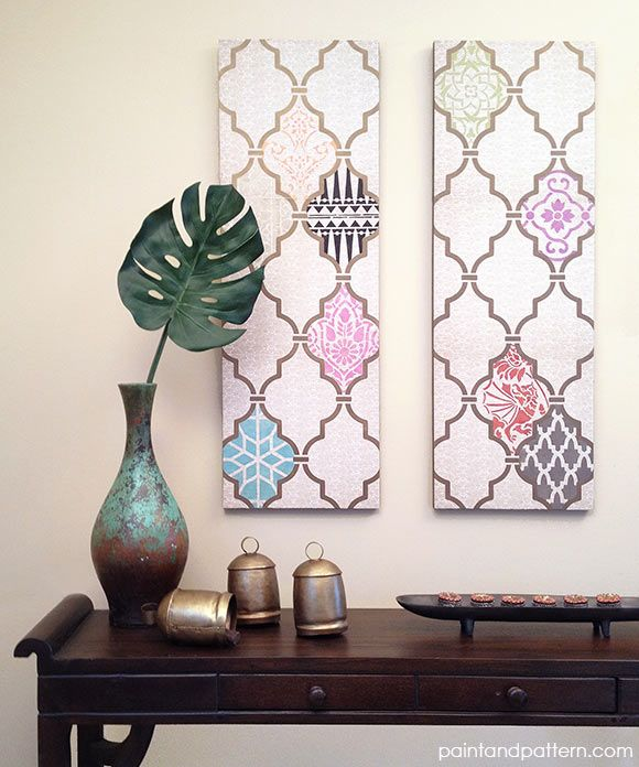 How to create DIY decoupage wall art with scrapbook paper - this is painted stencils on scrapbook paper!