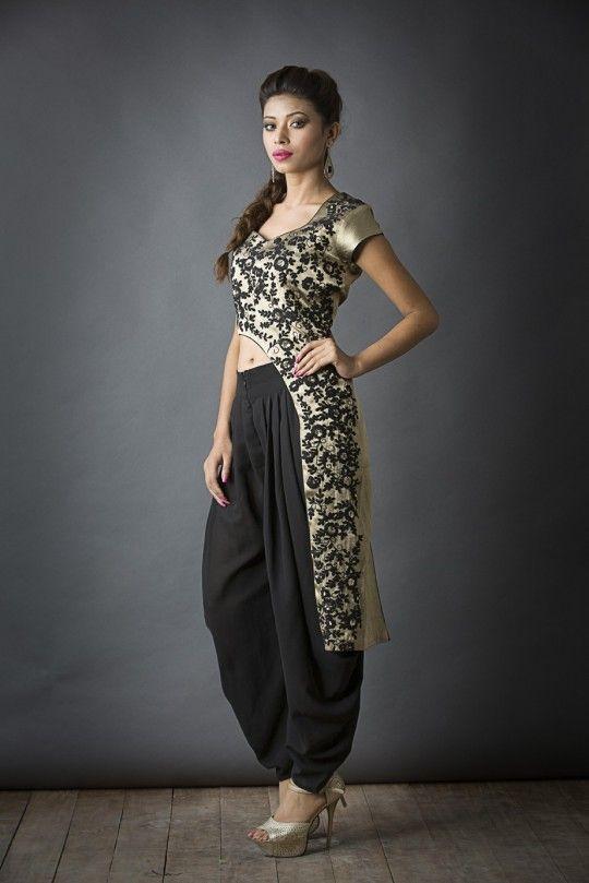 Waist cut with dhoti pants