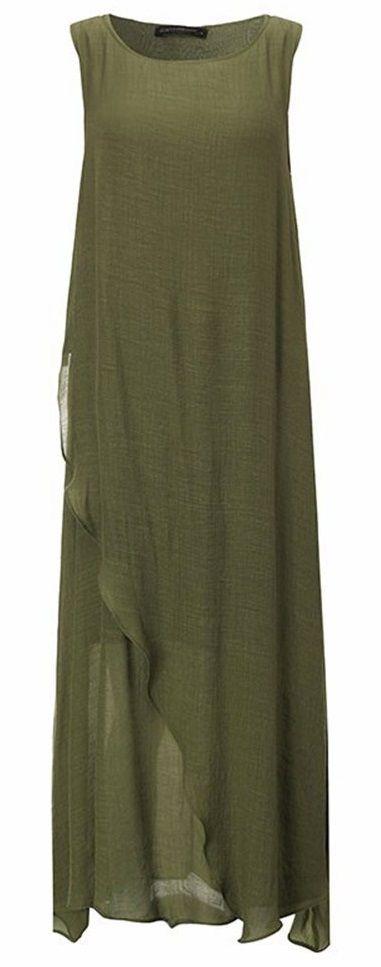 Vintage Sleeveless High Split Shirred Solid Long Maxi Dress
