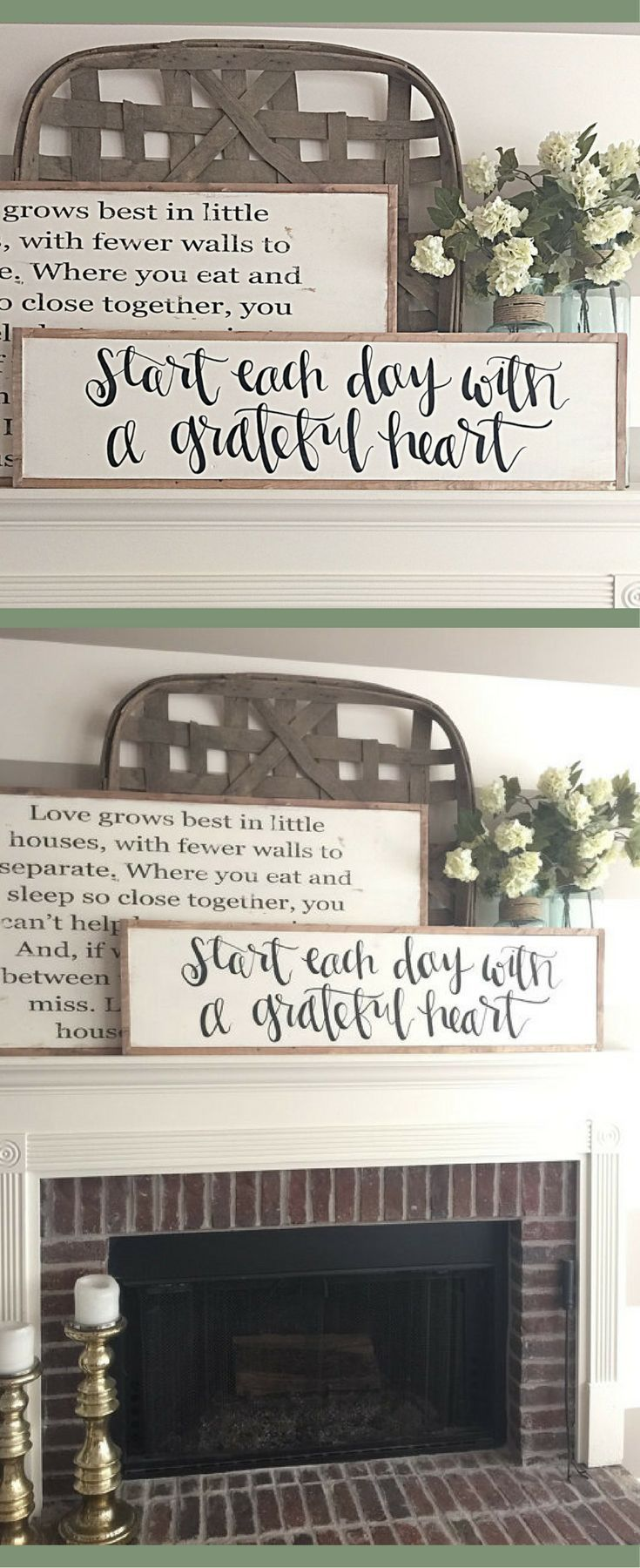 Start Each Day With A Grateful Heart | | Inspirational Sign | Reclaimed Wood | Rustic Home Decor | Hand Painted living room Sign | Rustic Wood Sign | Farmhouse sign | Gallery Wall | Farmhouse wall decor #ad