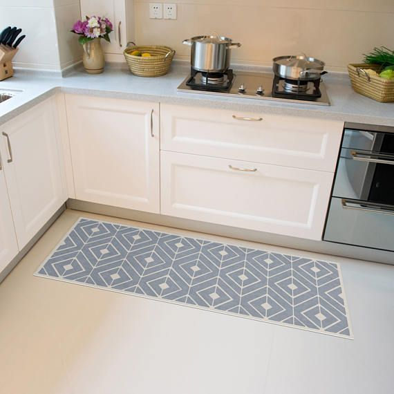 Grey Linoleum Rug Vinyl Mat With Modern Geometric Area Rug Etsy Decorative Tile Designs Decorative Tile Vinyl Floor Mat
