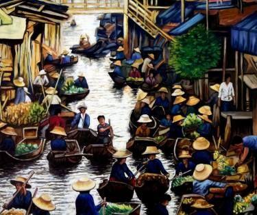 "Saatchi Art Artist Dan Civa; Painting, ""Floating Market, Bangkok, Thailand - No.K."" #art"