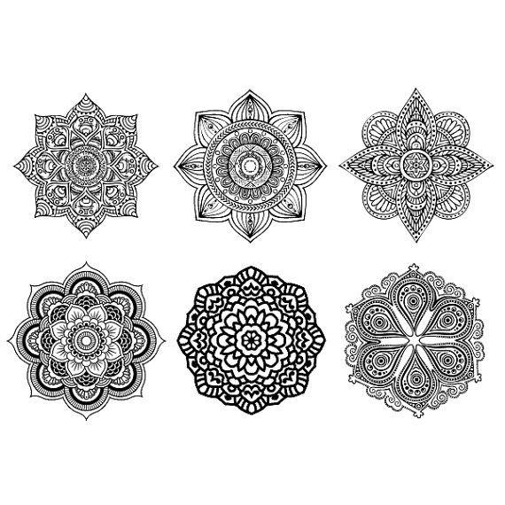 Set of 6 Mandala Boho Tattoo Pattern Tattoo by ArrowTattoo on Etsy