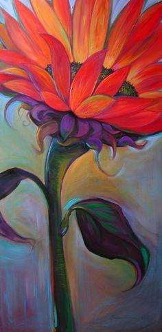 Sunflower painting - ©Susan Tolonen www.susantolonen.com/work/personal/ - love the movement - great for teaching