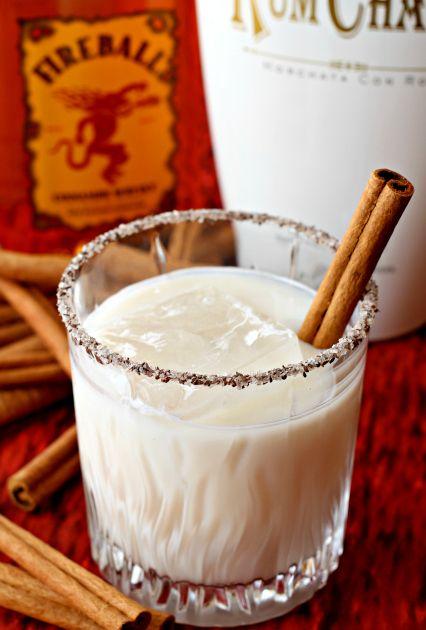 cinnamon-toast-crunch-cocktail  3 ounces rumchata 1 ounce vanilla vodka 1/2 ounce fireball whiskey cinnamon sugar, for rimming the glass