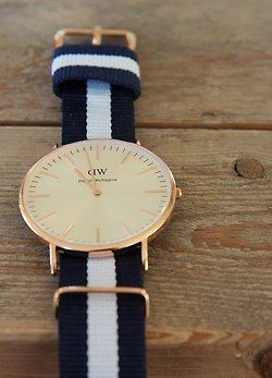 preppy navy and white gold watch