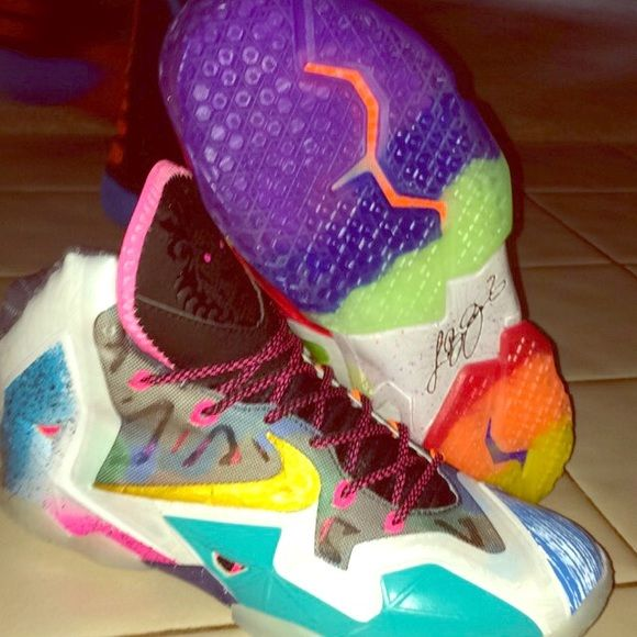 """Lebron 11 """"What The Lebrons"""" Quite rare, in perfect condition, only worn 1 time. NOT FAKE ! 100% real. Nike Shoes"""