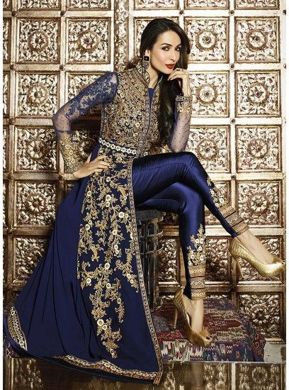 Malaika Arora Navy Blue Pure Georgette Heavy Designer Long Anarkali Suit-6206