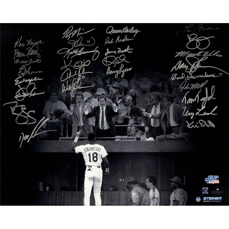 1986 New York Mets Team Signed Darryl Strawberry Curtain Call B&W 16x20 Photo (28 Signatures)