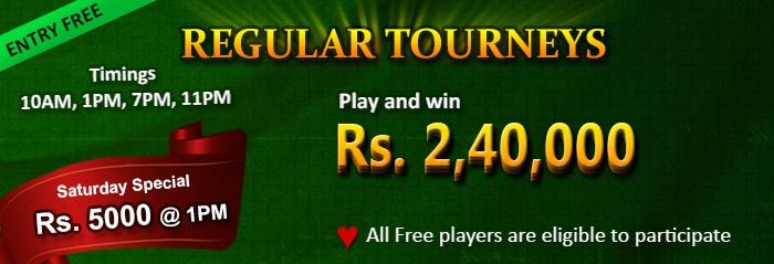 This Rummy Tournament is exclusively for Free players. No entry fee required; play and win real cash. Challenge 500 fellow players in this exciting multi-table and multi-player rummy tournament.https://www.classicrummy.com/jumbo-free-tournaments?link_name=CR-518
