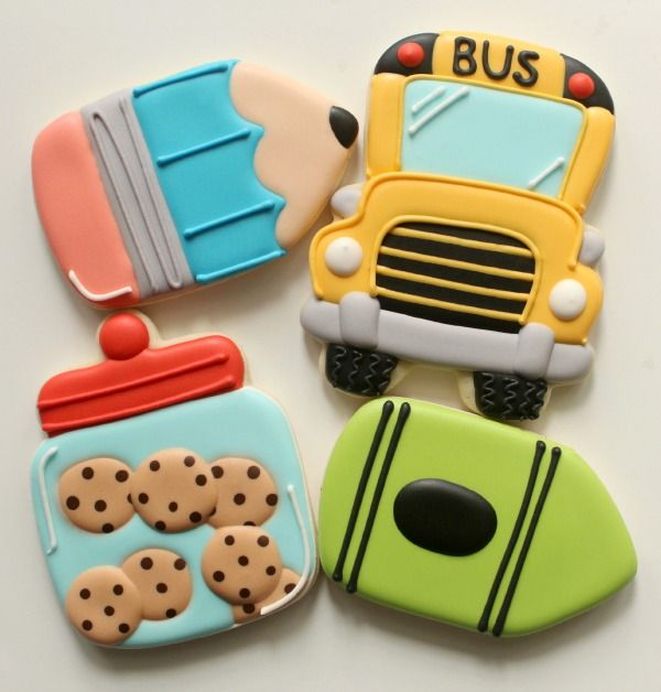 SweetSugarBelle Cookie Cutters! The bus can be a cookie jar, and the pencil can be crayons...use your imagination to utilize the cutters!