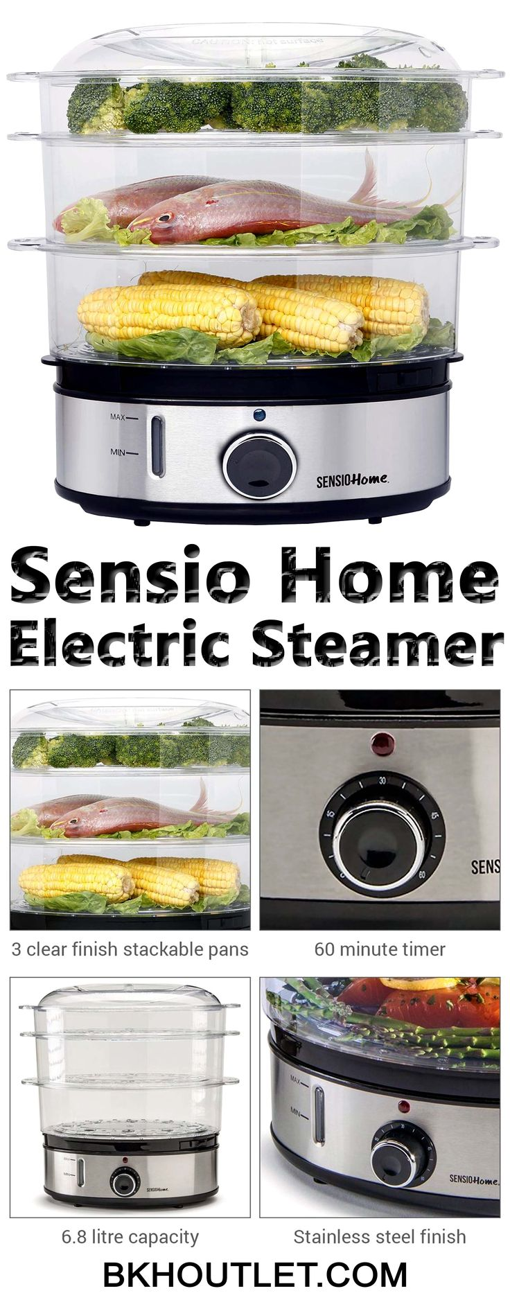 The Sensio Home Stainless Steel 3 Tier Steamer allows you to cook vegetables, meat and fish in healthy way that helps retain natural flavour and goodness. │kitchen appliances │blender │coffee maker │hot plates │kettles │mixers │slow cookers │steamers │toasters │speciality appliances #kitchenappliances #blender #coffeemaker #hotplates #kettles #mixers #slowcookers #steamers #toasters #specialityappliances