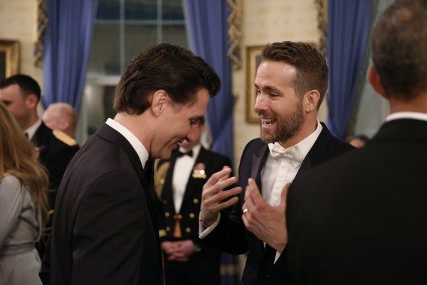Justin Trudeau and Ryan Reynolds at the White House State Dinner