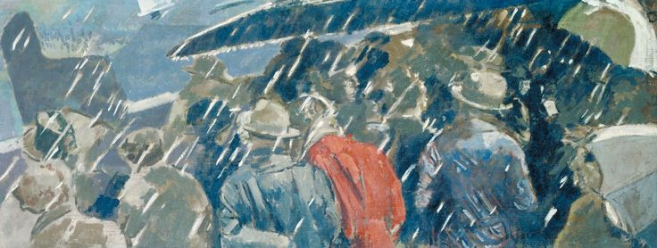 Miss Earhart's Arrival (1932) by Walter Richard Sickert. The painting was completed and exhibited just seven days after the source photograph's publication on the front page of the Daily Sketch on 23 May 1932. The Observer commented that although Sickert was a 'brilliant' artist, 'intellectual passivity' had made him a 'slave to the camera'.