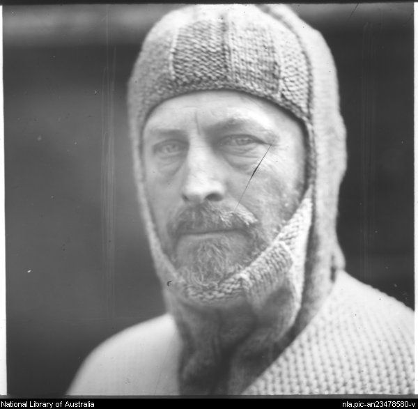 Portrait of Sir Douglas Mawson wearing a knitted woollen balaclava and jumper]: [Antarctica] [between 1910 and 1962]  slide : glass lantern.   by  Frank Hurley, Australian photographer
