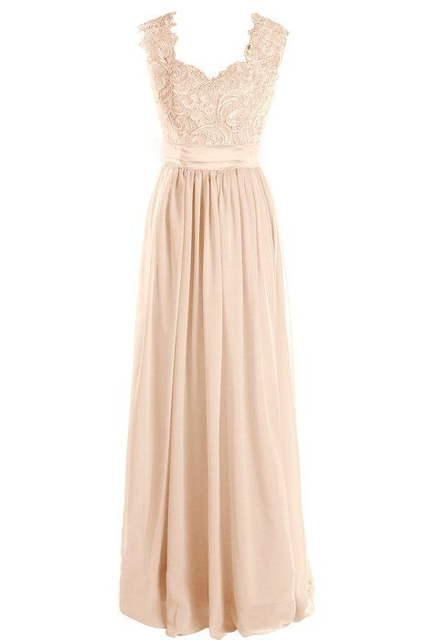 Dressever Women's V Neck Lace Bridesmaid Dress Long Chiffon Prom Beaded Evening Party Dress Champagne US16