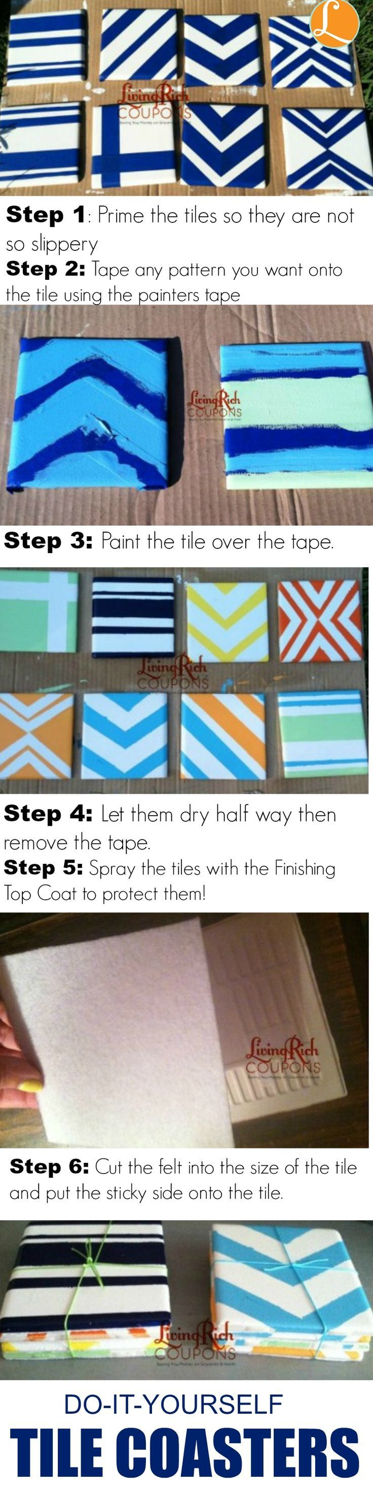 DIY Tile Coasters, These are so easy and they can easily be made to match your home and can be a great house warming gift!,