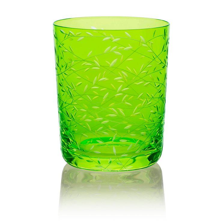 LIME | Handmade Glass Blown Medium Tumbler, Folium-Lime 1923, height: 100 mm | top diameter: 82 mm | volume: 330 ml | Bohemian Crystal | Crystal Glass | Luxurious Glass | Hand Engraved | Original Gift for Everyone | clarescoglass.com