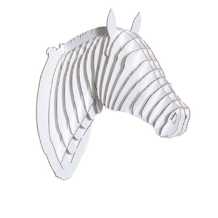 Trophée tête de cheval en carton blanc - GM - Cardboard Safari