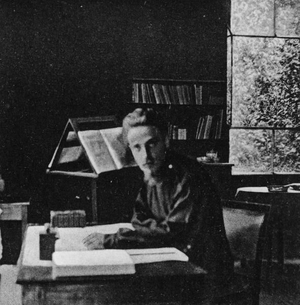 Rilke w swoim atelier Studio al Ponte, mieszczącym się w parku Villa Strohl-Fern w Rzymie, gdzie mieszkał od grudnia 1903 do czerwca 1904 roku