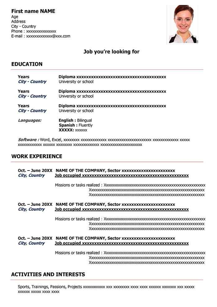 Exemple De Cv En Anglais Gratuit Tlcharger Cv Word Cv English Cv Words Downloadable Resume Template