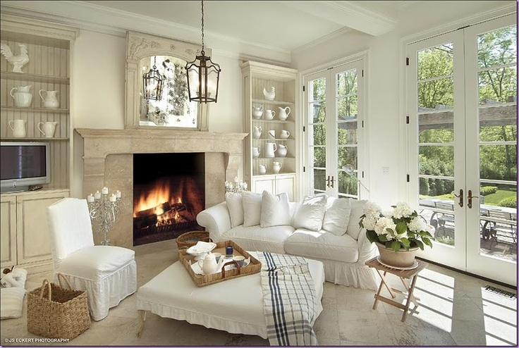 Family Room - there's all that white again, and the nice basket, and the lantern....