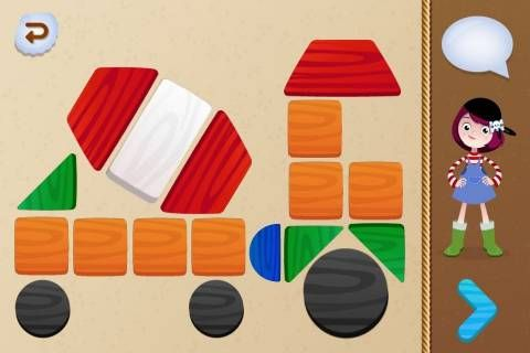 Shapes & Puzzles :: Pirate Trio Academy ::  iOS 4.3 or later :: Skills = Math, Thinking & reasoning, Shapes, Colors :: Activities = Drag and drop pieces into shaded areas, identify colors and shapes :: Technical Notes = in-app purchases (can be disabled), intuitive use :: $2.99 :: 3-6 years