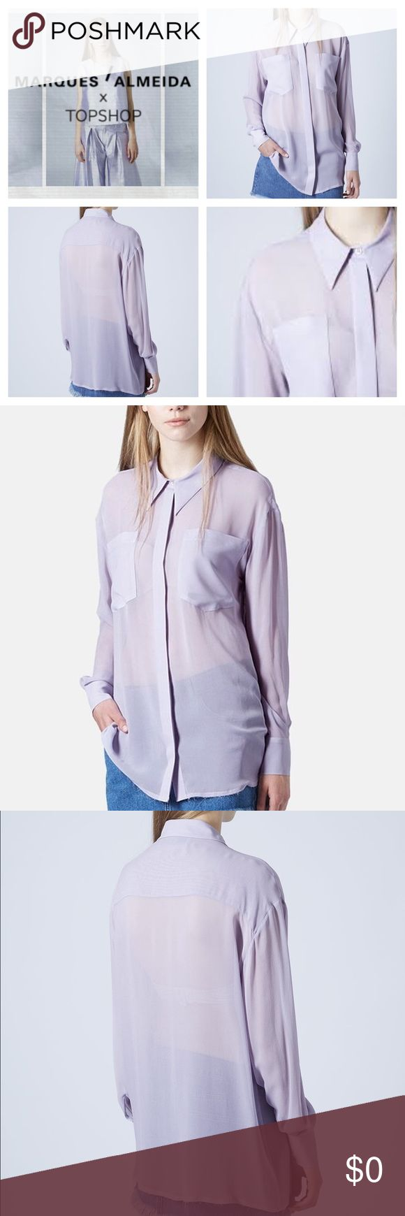 "MARQUES' ALMEIDA for Topshop Lilac Silk Blouse Marques' Almeida for Topshop - Lilac Oversized Silk Shirt Blouse. A hidden front button placket & a pair of roomy chest patch pockets define this semi-sheer, stylishly oversized shirt crafted from smooth silk. 30"" length (size 8). 100% silk. / Dry clean. Only flaw: teeny tiny hold on back seam. See photos.   SIZE : EUR 40, US 8, UK 12. Fits like a US 6-8. Topshop Tops Blouses"