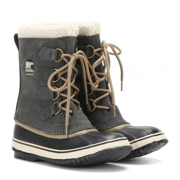Sorel 1964 Pac 2 Leather and Rubber Boots (200 CAD) ❤ liked on Polyvore featuring shoes, boots, grey, lined boots, wellington boots, grey rain boots, gray boots and leather wellington boots