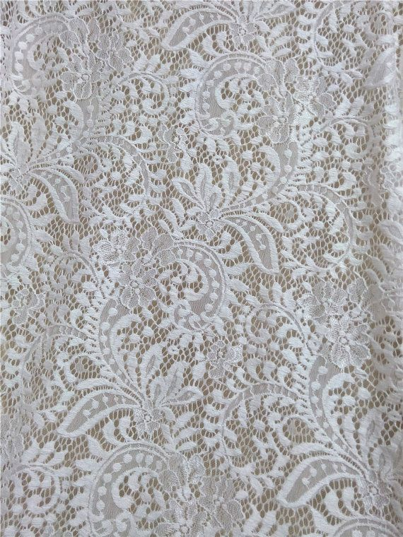 Wedding Lace fabric, Stretch lace, Floral lace, Fabric lace, White stretch lace fabric by the yard wholesale lace fabric HDF52610