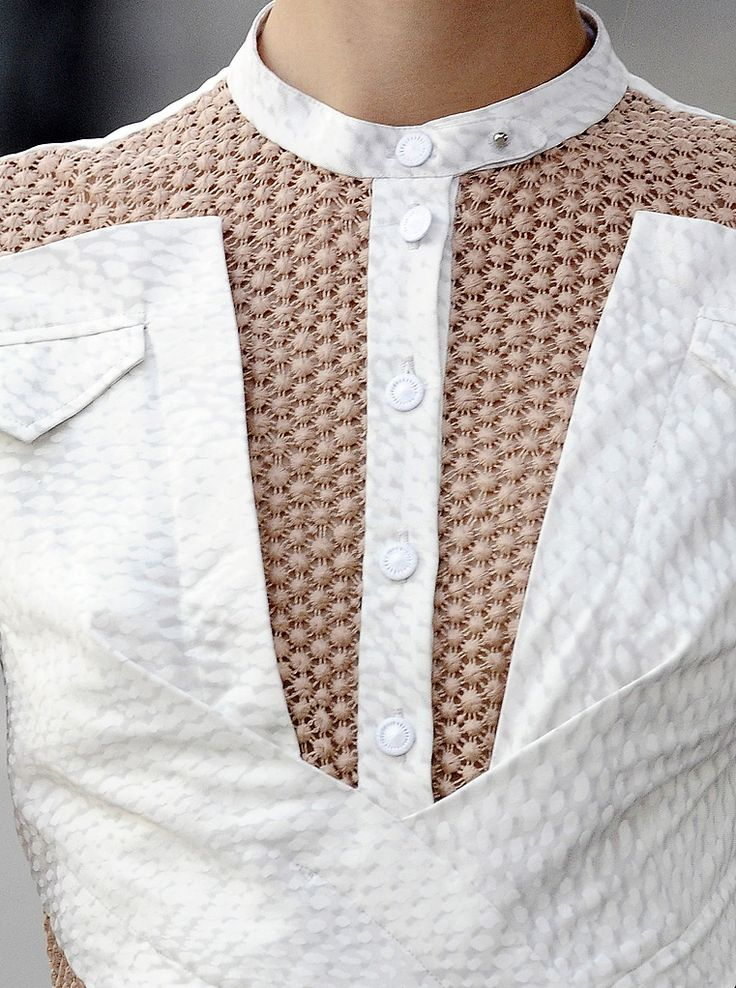 Shirt design with contrasting pattern & texture + elegant symmetry; fashion details // Peter Pilotto