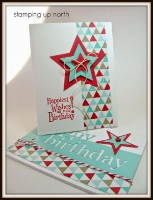 Paper: SU coastal cabana, white, real red, DP Ink: SU real red Stamps: SU Happiest Birthday Wishes, August 17, 2014, http://stampingupnorthwithlaurie.blogspot.com/search/label/birthday%20cards?updated-max=2014-09-02T07:00:00-05:00&max-results=20&start=22&by-date=false Other:MB die, bakers twine, SU star die, button, string,
