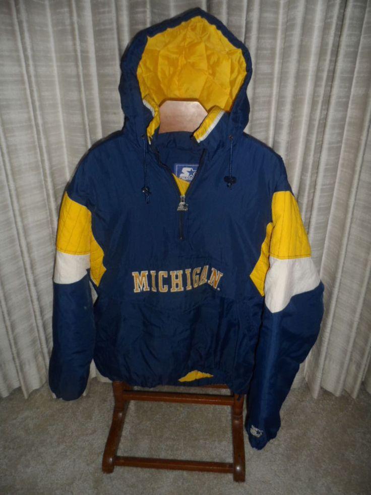 Vintage 90's Michigan Wolverines Starter Pullover Hoodie ...