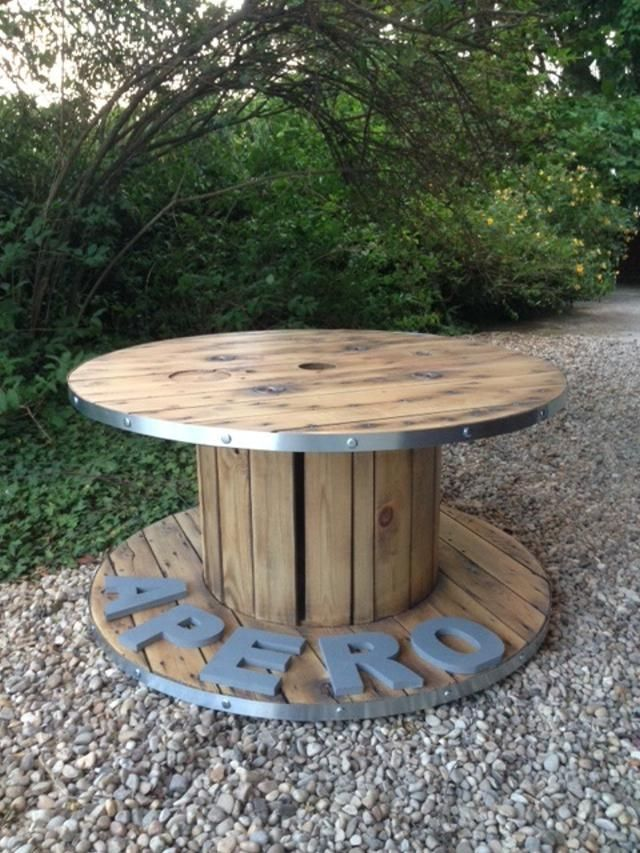 Table basse bobine ap ro styl e d coration salon cerclage for Palette table jardin