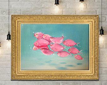 Fish Painting, Underwater painting, school of fish, Pink fish, Teal and pink painting, Large Painting, Sea painting, Ocean painting, fish