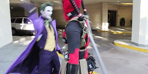 Deadpool & Joker Best animated GIF this year, and how cool is this dude as the Joker..!