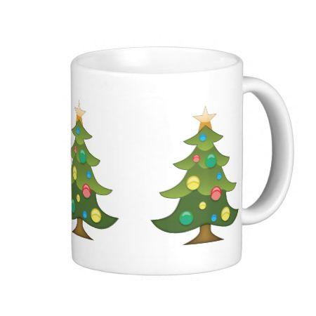 Christmas Tree Emoji Basic White Mug