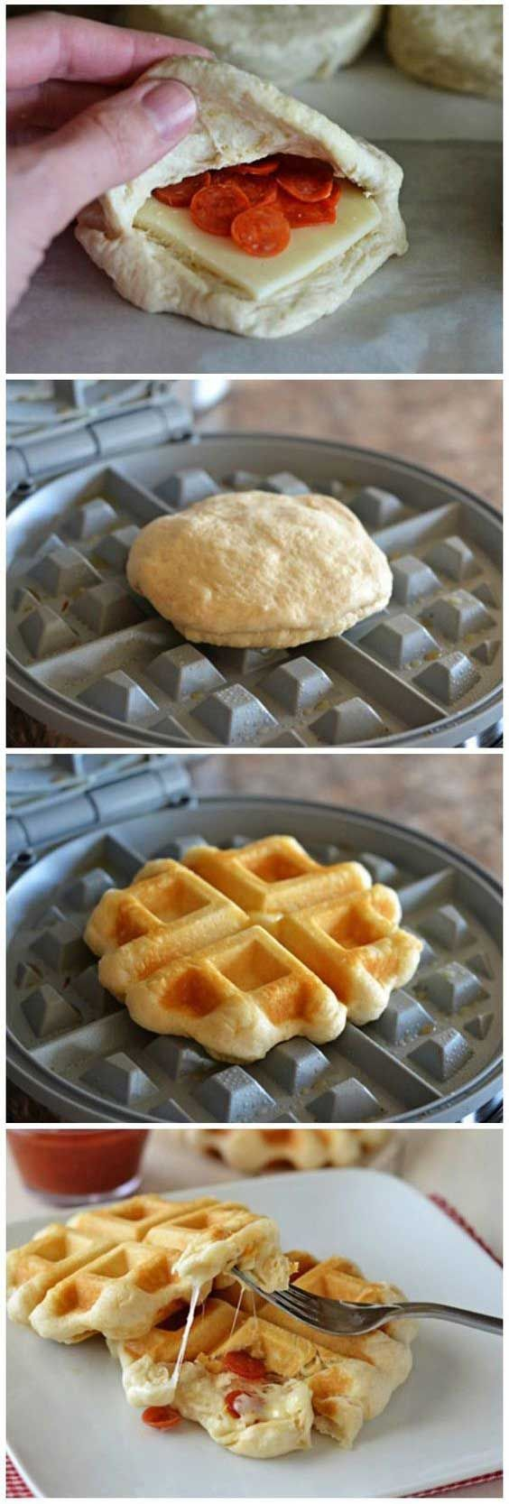 Don't count on having leftovers when you waffle these delicious pizza pockets for your kids.