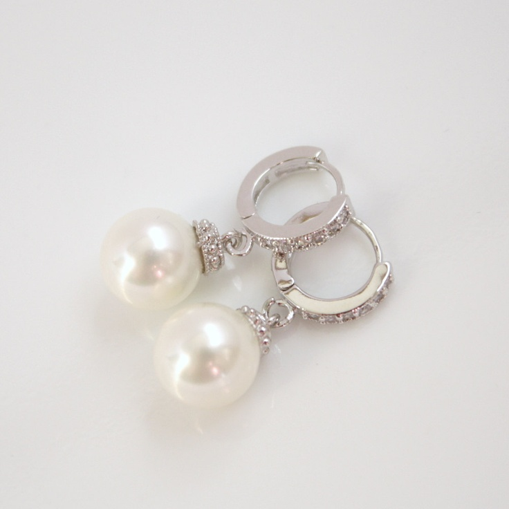 Wedding Earrings Silver Pearl Earrings Cubic Zirconia Bridal Earrings Round White Swarovski Pearl Drops Pearl Jewelry. $30.00, via Etsy.Swarovski Pearls, Silver Pearls, Pearl Earrings, Pearls Drop, Earrings Cubical, Pearls Earrings, Pearls Jewelry, Bridal Earrings, Drop Pearls