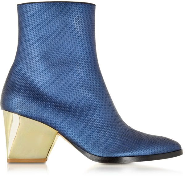 Zoe Lee Shoes Addis Bluette Embossed Leather Bootie ($450) ❤ liked on Polyvore featuring shoes, boots, ankle booties, blue, blue bootie, leather ankle bootie, ankle boots, leather ankle booties and blue leather boots