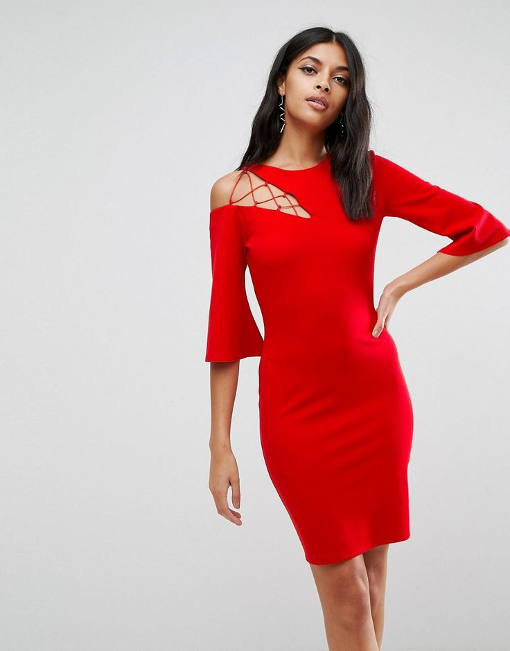 Buy it now. ASOS Fluted Sleeve Shift Dress with Ladder Detail - Red. Dress by ASOS Collection, Smooth stretch fabric, Fully lined, Round neck, Cut out lace-up insert, Fluted sleeve, Zip back, Slim fit - cut close to the body, Machine wash, 95% Polyester, 5% Elastane, Our model wears a UK 8/EU 36/US 4 and is 173cm/5'8 tall. Score a wardrobe win no matter the dress code with our ASOS Collection own-label collection. From polished prom to the after party, our London-based design team scour the…