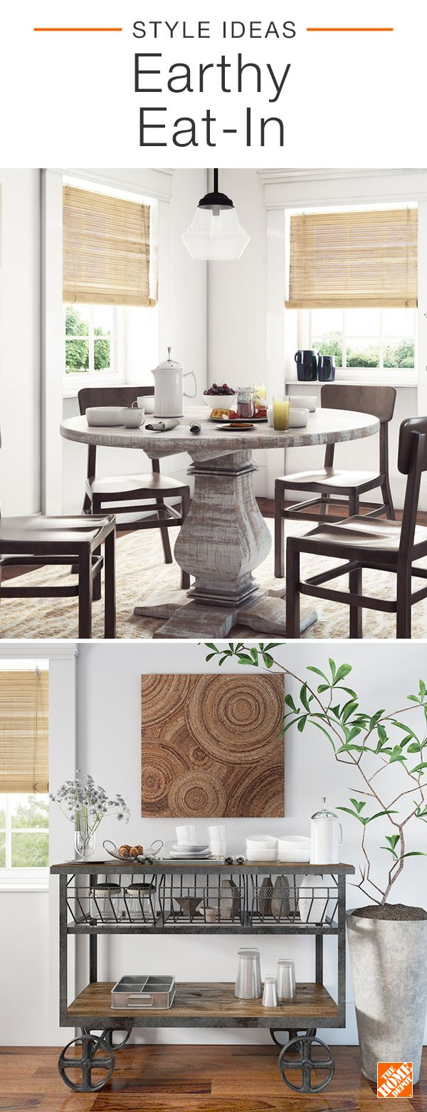 Light, bright, and full of eclectic charm, this earthy eat-in utilizes contrasting textures to achieve a chic look. A round, antique-style dining table pairs beautifully with contemporary aluminum side chairs. An industrial-style mango wood cart serves as a storage-packed statement piece, while clean white ceramic tableware sets a calm mood for this stylish dining area. Click to learn more about this room.