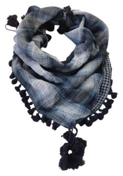 Abercrombie & Fitch Blue Plaid Scarf With Tassle Detail Scarves & Wraps 60% off retail