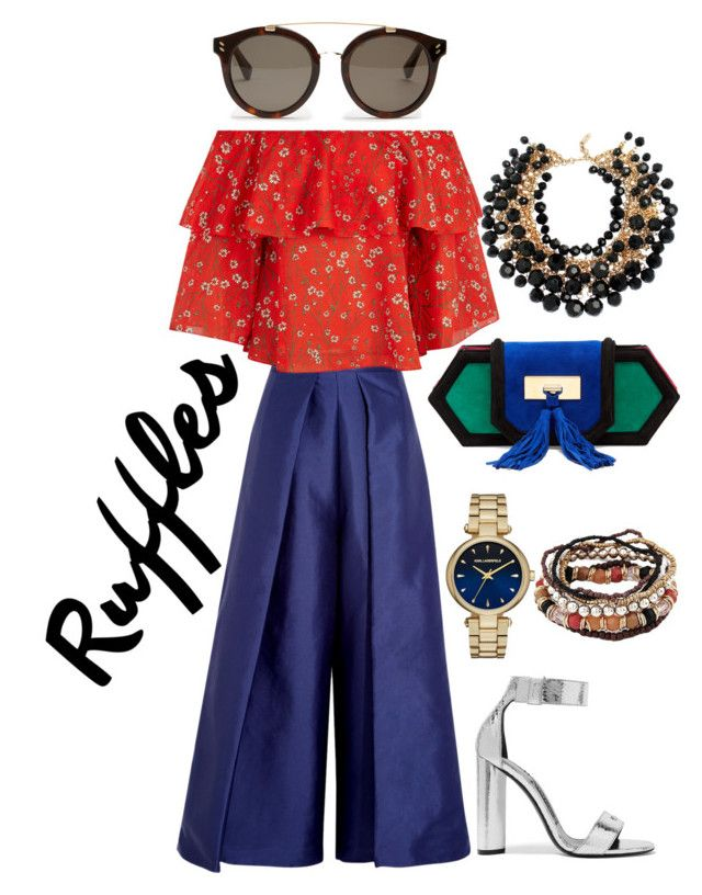 Ruffles Red Blue by ratihasmarani on Polyvore featuring Alice + Olivia, Solace, Tom Ford, Balmain, Yves Saint Laurent, Karl Lagerfeld, STELLA McCARTNEY, red, Blue and Silver