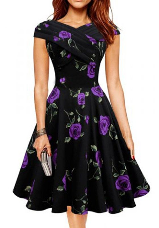 Purple Floral Print Boat Neck Vintage Cotton Midi Dress