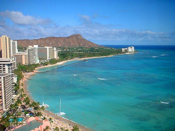 Waikiki, Hawaii & Diamond Head Volcano in the back