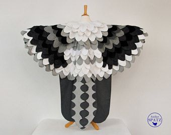 Black White Owl Costume | Albatross Bird Cape | Snow Owl | Mocking Jay | Seagull | Wings | Halloween | Carnival | Imaginative Role Cos Play